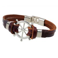 Wholesale The rudder bracelet head layer cowhide rope leather bracelet adorn article