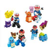 Wholesale Pikachu blocks Minifigures Pikachu Squirtle Charmander Minifigures Children Bricks Building Blocks Collect Toys