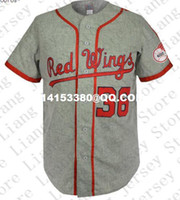 Wholesale Retro Mens Rochester Red Wings Road Baseball Jersey gray Throwback or Custom any number name Stitched jerseys