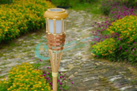 bamboo garden torch - Solar Outdoor LED Bamboo Torches Courtyard Garden Energy Saving Light Decorative Lights Drop Shipping New