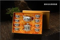Wholesale Special offer head of ceramic kung fu tea set Glaze color blue and white tureen tea cups on the box