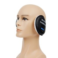 Wholesale Warm Wireless Bluetooth Earmuff Headset Earphone Black Leather Button Earmuffs Heaphone Hands Free Headset Black with Speaker LH KZD EZ02