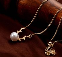 antler pendant - Antlers white imitation pearl Necklaces Fashion jewelry cheap Alloy chain Hot necklaces pendants necklace for women love cm