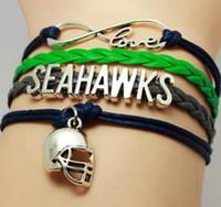 american sports seattle - Infinity Love Seattle State Seahawks Football Team Bracelet green blue Customize Sport friendship Bracelets styles in stock