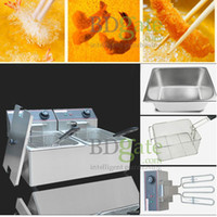 Wholesale Home Party Cafe Tea Shop Commercial use V v Electric Frying equipment fryer double pans tow sifters