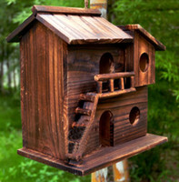 Wholesale New cm Wood preservative outdoor birds nest wood preservative bird nest decoration bird house wooden bird cage toy