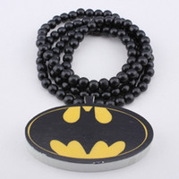 Wholesale Hip hop Necklace Batman Wooden Hand drawn GOOD WOOD NYC Beaded Rosary Jewelry Men And Women Gift Factory Cheap Price