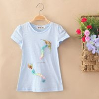 Wholesale The new girl s cotton T shirt with short sleeves Simple style Breathable absorbent Kite designs sequins The letter Four color rag