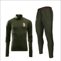 ac acrylic - NEW soccer training suit jacket AC Milan skinny pants soccer tracksuit trousers football shirt