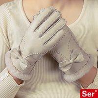 Wholesale Handmade Nature Genuine Leather Gloves Female Sheepskin Wool Fur Mittens Thick Warm Women Winter Home Office Outdoor