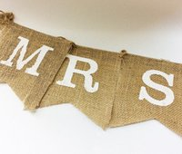 Wholesale Wedding Decorations Wedding Banner Bunting MR MRS Flag Burlap Pattern Triangle size Pieces CM CM