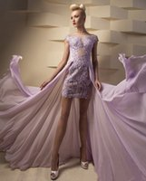 african imports - Light Purple African Prom Dresses Lace Short Front Long Back Transparent Formal Imported Party Pageant Evening Gowns Chiffon China L267