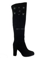 beautiful long toes - Factory outlet genuine leather handmade good quality black over the knee boots chunky heel with beautiful rhinestones simple long boots