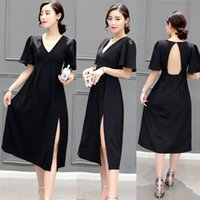 Wholesale Women Fashionable Back Open Black Long Dresses Sexy Backless Flare Sleeve V neck Side Split Prom Party Dress