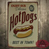 Fabric best in town - Metal sign vintage retro Hotdogs the best in town iron poster Tin wall plaque gift F