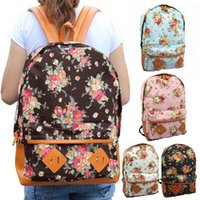 Wholesale New Women s Girl s Fashion Canvas Floral Backpack Outdoor Knapsack Sports Travel Bags Duffel Bags Bx80