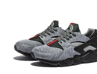Wholesale 2016 Brand New air huarache shoes mens womens running gym trainers black green training Sneakers Chaussure Hurache with box Size36 Eur