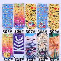 Wholesale 374styles D Emoji Emoticon Ankle Socks Animal Cat Dog People D Fashion Printed Sock Slippers Unisex Emoji Pattern Boat Socks