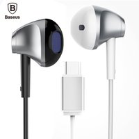 audio plug types - Baseus B51 Type C Wired In ear Earphones Headphones HiFi Digital Lossless Audio Type C Plug Headset For Huawei p9 for Xiaomi