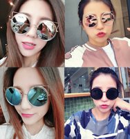 Wholesale 2016 new sunglasses A hollow metal frame in Europe Personality cat ear style Round frame sunglasses LHX