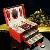 Wholesale Fashion red layer high quality wood PU leather jewelry box cosmetic box case hasp storage box wedding birthday gift A