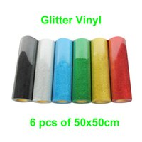 Wholesale 6 sheets x50CM quot x20 quot Glitter Heat Transfer Vinyl T shirt DIY cutter plotter