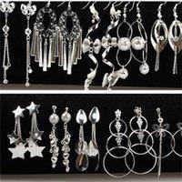 Wholesale Lowest Price Earring Jewelry Mixed Styles Star Flower Leaf Heart hoop earrings Women s Dangle Earrings Eardrop Free Ship