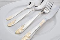 Wholesale Hot Sale Quality Cutleries mirror polished Gold Plated Cutlery Set Pieces Dinner Spoon Fork Knife Dinnerware Golden Flatware