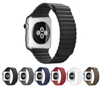 adjustable wrist band - Magnetic Leather Loop Watch Band For Apple Watch Strap Adjustable Wrist Strap Bracelet Watchband With Adapters