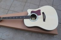 Wholesale Hot Sale Custom Shop Natural Wood Cutaway strings Acoustic Electric Guitar