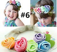 Wholesale Fashion Newborn Headbands Cute baby handmade flower hair ornaments multi colors kids girls FFD001