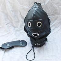 Precio de Traje de cuero completo-Cuero de la PU de la venta del nuevo adulto perro de perrito de la máscara completa de la capilla de la mordaza de la boca cremallera del traje de arnés