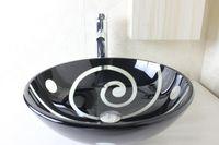 Wholesale Tempered glass circular basin hand basin factory direct special wash basin bathroom basin basin with a leading set N