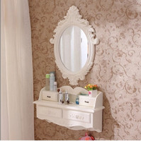 Wholesale European style wooden wall hanging dresser european style mini cosmetic mirror small family model bedroom dresser pure handmade makeup mirro