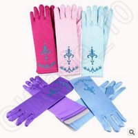 Wholesale 18 Colors Baby Glitter Powder Frozen Gloves Brocade cloth Princess Elsa Gloves for Dress Cosplay Party Gloves Kids Gloves CCA4908 pair