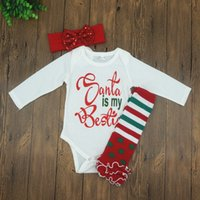 baby footed rompers - 2016 Children Christmas Newborn Outfits Infant Baby Long Sleeve Cotton Rompers Foot Straps Headbands Three Piece Sets