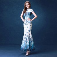 beautiful cheongsam - 2017 New elegant blue fashion long lace chinese cheongsam dresses beautiful clothing Maxi Bodycon Dresses
