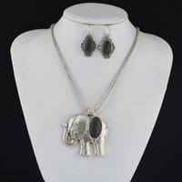 (ORDINATEUR MINI $ 5) S131P Lava Rock Volcano Éléphant Animal Neckace Earring Bracelet Bijoux Set Vintage Tibet Alliage Argent Antique