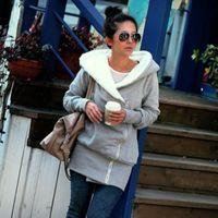 cashmere coats - Hot fashion warm Ladies fleece Hoodie Gray Top designed long Women Zip Coat Sweatshirt M XXL