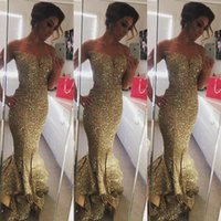 Reference Images african beaded collars - New Designer Gold Sequin Mermaid Prom Dresses Spaghetti Ruffles Train Evening Pageant Gowns Sexy Front Split African vestidos BA1086