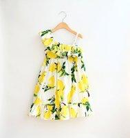 Cheap 2 Design Girl Summer Lemon strawberry Sling Dress DHL Children Cartoon Print sleeveless vest Lemon leaf princess dresses B001