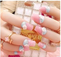 american blue tip - European and American fashion blue pink bride Nail finished fake nails nail patch false nails finished pieces