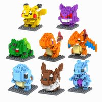 Wholesale LOZ Poke Go Figures Model Toys Pikachu Charmander Bulbasaur Squirtle Mewtwochild Eevee gift Anime Building Bricks Blocks