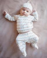 baby footed pants - Boys Girls Baby Clothing Sets Long Sleeve tshirts Wrap Foot Pants Hats Set Spring Autumn Toddler Kids Clothes Pajamas Suits