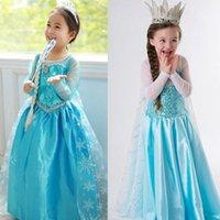 Wholesale Snowflake Skirts - wholesales 2016 Halloween and Santa Girls Frozen princess dress Elsa party skirt long sleeve Lace Snowflake for 2-10T children