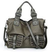 Cheap Double Pocket fashion woman shoulder bag new European vintage rivet laptop Messenger bag designer handbag hot sale