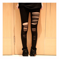 Wholesale Slash Leggings - SAF 2016 NEW Cool Sexy Black womens Girls Hippie Ripped Torn Slashed Leggings Pant