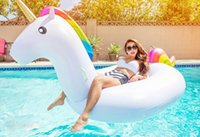 Wholesale White Rainbow Unicorn Pegasus Pool Toys Air Mattress Giant Inflatable Floats Rafts Summer Holiday For Kids Adults GF R21