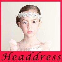 Wholesale European children baby hair band diamond beaded diamond hair with ribbon a bride hair headdress accessories
