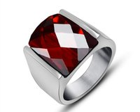 Wholesale Red Garnet Ring Ring male jewel simple style of jewelry SA038 Report